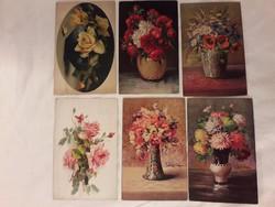 Antik képeslap hat darab csendélet