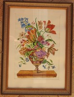 Antik -jelzett - akvarell vegyestechnika  csendélet