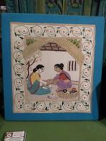 33 x 31 cm-es , fakeretre feszített , hímzett , indiai kép , újszerű állapotban .
