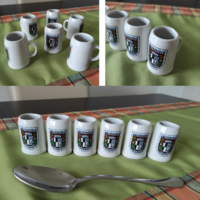 2 in 1! Sörösöknek pálinkás szett! Új 6 db-os söröskorsó formájú német porcelán stampedli készlet