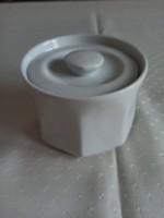 Fehér, szögletes porcelán cukortartó