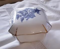 Aquincum porcelán bonbonier gyönyörű kék rózsa mintával, jelzett, eredeti