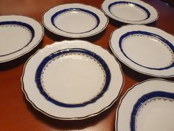 """6 db hollóházi  """"kék rózsa""""  süteményes tányér"""