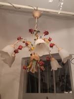 Romantikus rózsás 6 égős csillár, vaslemezből formált