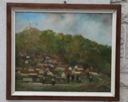 Pécs festmény,olaj farost modern kép! Pécs Havihegyi téma! Tettye