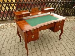 Antik, biedermeier, picike építményes vastag diófa svartnis női íróasztal SZÁLLÍTÁSSAL!
