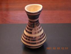 Iparművészeti eozin csíkos váza, virágtartó