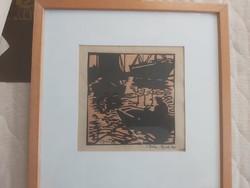 BÁN BÉLA litográfia kerettel, 32x32 cm, sérült