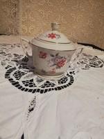 Eladó antik zsolnay pajzs pecsétes különleges virág mintás manó füles porcelán cukortartó!
