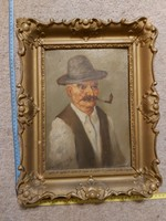 Mesterházy Dénes festmény, eredeti keretében