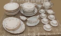 Porcelán Nagy étkészlet és Kávés készlet 6 személyes tálaló Jelzett Csehszlovák