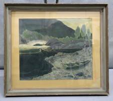 "Alex Lindmann: ""Sand"" -guache festmény 1946 (5051)"