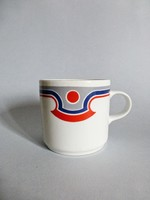 Alföldi retro,vintage piros-kék mintás bögrék 5db