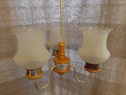 Hibátlan 3 ágú, búrás tejfehér mennyezeti lámpa