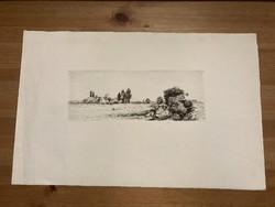 Boldizsár István hagyatékából rézkarc eladó - Pecázók - hagyatéki pecséttel