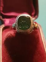 Antik véset drágaköves pecsétgyűrű ezüst.