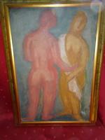 Bortnyik festmény, Tanulmány - két akt forma, faros lemezre festett, mérete 47 x 32 cm.
