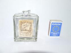 Régi, antik parfümös üveg, kölnis üveg magyar feliratos (Budapesti üzlet) címkével