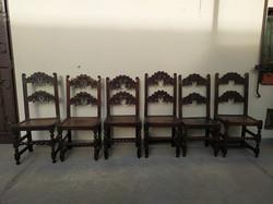 Antik 6 darab keményfa reneszánsz fatiplikkel összeerősített fa szék 18. század