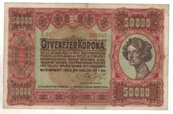 50000 korona 1923 Ékezet hibás! Nagyon ritka!