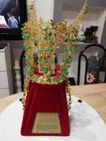 Chonma-Chong ókori koreai korona kicsinyített 24K  aranyozott jáde köves másolata