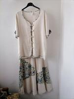 Szebbnél szebbek molett nálam 44 nyári tavaszi szett kosztüm viszkóz len nagyon mutatós virágos