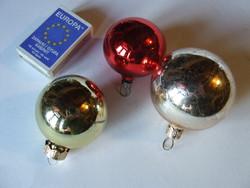 Régi üveg gömbök, karácsonyfa díszek, karácsonyi dekoráció- 3 db egyben