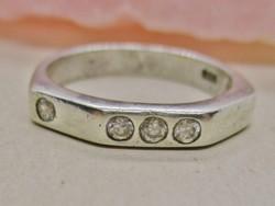 Gyönyörű art deco ezüst gyűrű  fehér kis kövekkel