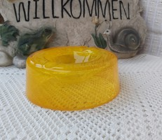 Gyönyörű  Fátyolüveg  üveg ritka  karcagi berekfürdői  narancssárga hamutartó, hamus Gyűjtői darab