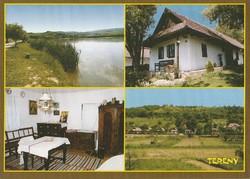Képeslap, Terény, A Bócsoki tó, Faluház és Szőlősor