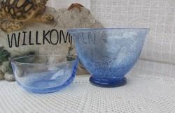 Gyönyörű repeszett fátyolüveg  üveg ritka  karcagi kék tálak tál  Gyűjtői darab nosztalgia darab