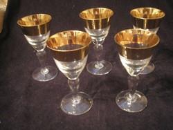 24 K Antik vastagon aranyozott pohár készlet ritkaság