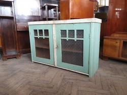 Régi vintage fenyő vitrin felső rész szekrény kredenc konyhaszekrény tálaló felsőrész