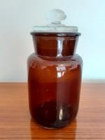 Régi vintage patikaüveg gyógyszertári edény dugós barna patikai üveg