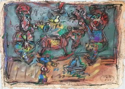 Tóth Ernő - Játékok 60 x 86 cm olaj, merített papír