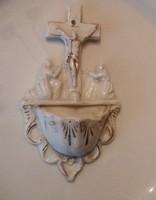 Antik fali porcelán aranyozott szenteltvíz tartó 15 cm