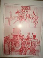 Würtz Ádám litográfiája/linometszete: Carnival of puppets, 230/500