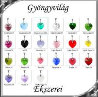 Ékszerek-medálok: Swarovski kristály medál -14mm-es szív több színben