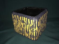 Király kerámia sárga-fekete szögletes kaspó