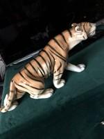 Royal Dux porcelán tigris szobor, 40 cm-es nagyságú darab.