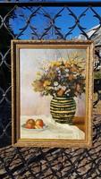 Ratzkáné Reissmann Gizella: Olaj, vászon 54x73cm, festmény. Vadvirág, 3 és fél alma. Csendélet