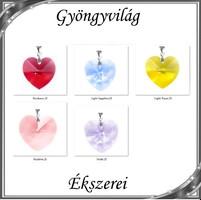Ékszerek-medálok: Swarovski kristály medál -28mm-es szív több színben