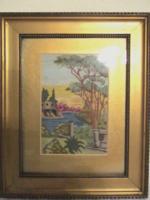 Gobelin tájkép arany keretben