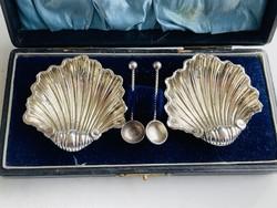 Ezüst Angol sterling 2 db kagyló alakú fűszertartó 2 db ezüst kanállal