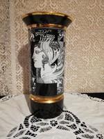 Eladó régi porcelán Hollóházi Szász Endre váza 30,5cm magas vitrin állapot!