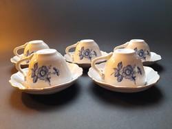 Kék rózsás, virágos Aquincum kávés (mokkás) csészék