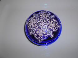 Parádi antik üveg- csipkeüveg  bonbonier-  kézi festéssel