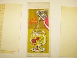 Retro auto syphon márkájú szódás szifon nejlon nylon zacskó tanúsítvány jótállás - 1980-as évekből