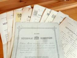 10 db. régi népiskolai iskolai bizonyítvány Budapest és környéke (1901-1944)