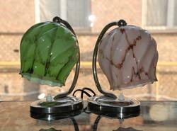 """Art deco nikkelezett lámpa pár felújítva- márványozott zöld és rózsaszín """"csavart"""" ernyő"""